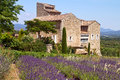 Provence house beautiful is situated near blooming lavender france Royalty Free Stock Photos