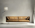 Provence style interior design living room d rendering of a leather sofa and a lamp Stock Image