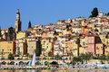 Provence village of menton on the french riviera in the south of france colorful houses near monaco Stock Image