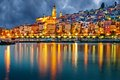Provence village Menton after sunset Royalty Free Stock Photo