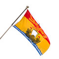 Provincial flag of new brunswick canada the province with its coat arms to present isolated on white Royalty Free Stock Images