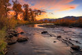 Provo River dusk landscape in the Wasatch Mountains. Royalty Free Stock Photo