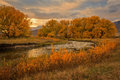 Provo River fall landscape in the Wasatch Mountains. Royalty Free Stock Photo