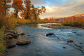 Provo River with morning light in the Wasatch Mountains. Royalty Free Stock Photo