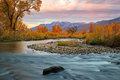 Provo River sunrise with morning light in the Wasatch Mountains. Royalty Free Stock Photo