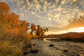 Provo River sunset in the Wasatch Mountains. Royalty Free Stock Photo