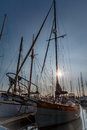 Prow and masts at twilight Royalty Free Stock Photo