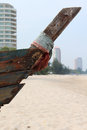 Prow of old boat the wooden on the beach Stock Photography