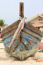 Prow of old boat the wooden on the beach Royalty Free Stock Image