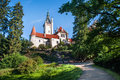 Pruhonice castle view from park Royalty Free Stock Photo