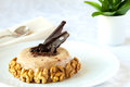 Prune jello decorated with walnuts and chocolate Royalty Free Stock Photography