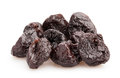 Prunes dried on white background Stock Image