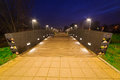 Pruszcz gdanski at night poland park pathway in Stock Photo