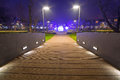 Pruszcz gdanski at night poland park pathway in Royalty Free Stock Image