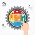 Przekładni infographics pchnięcia szablonu wyrzynarka banner concept il Fotografia Stock