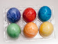 Psanky ukranian easter egg coloring colored eggs in tray Royalty Free Stock Images