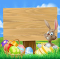 Páscoa bunny egg hunt sign Fotografia de Stock Royalty Free