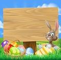 Påsk bunny egg hunt sign Royaltyfri Fotografi