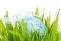 Påskägg i gräs Arkivbild