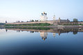 Pskov Kremlin in the may twilight from the side of the Great river