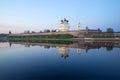 Pskov Kremlin and the river Great, evening. Pskov, Russia