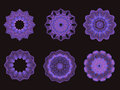 Psychedelic blue and green kaleidoscope spirograph motifs collection of on black Royalty Free Stock Photos