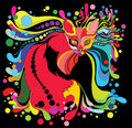 Psychedelic cat multi colored with a style on a black background possible print Stock Image