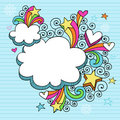 Psychedelic Clouds Notebook Doodle Vector Stock Image