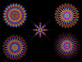 Psychedelic colorful kaleidoscope spirograph motifs collection of on black Royalty Free Stock Images