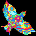 Psychedelic Dove Vector Illustration Stock Photos