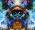 Psychedelic eyes on multicolor abstract backgroung with ornamental pattern.