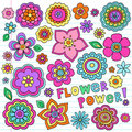 Psychedelic Flower Power Doodles Vector Set Royalty Free Stock Photo