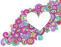 Psychedelic heart frame doodle vector flower power peace and love groovy notebook doodles illustration Royalty Free Stock Photo