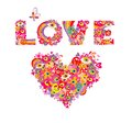 Psychedelic hippie heart shape and love lettering with colorful abstract flowers, peace symbol, eyes and fly agaric iIsolated on w