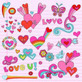 Psychedelic Love Heart Doodles Vector Set