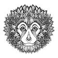 Psychedelic monkey head tattoo zentangle style vector illustration on white Stock Photography