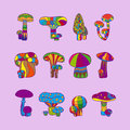 Psychedelic mushrooms or hallucinogenic fungus vector illustration Stock Photography