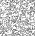 Psychedelic Peace Doodles Seamless Pattern Royalty Free Stock Photo