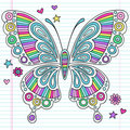 Psychedelic Rainbow Butterfly Notebook Doodles Royalty Free Stock Photo