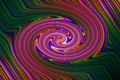Psychedelic retro swirl background purple green etc bright rainbow type shades revolve around centre Stock Photos