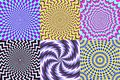 Psychedelic spiral. Optical illusion, delusion spirals and colorful abstraction hypnosis spiral vector illustration set Royalty Free Stock Photo