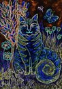 Psychedelic striped blue cat with tree of life. Royalty Free Stock Photo