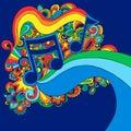 Psychedelic vektor för illustrationmusikanmärkning Arkivfoto