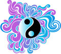 Psychedelic Yin Yang Vector Illustration Stock Images