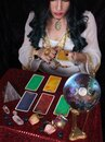 Psychic With Tarot Cards and Crystal Ball Royalty Free Stock Photo