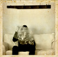 Psychic medium with ectoplasm antique photo