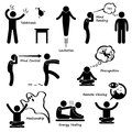 Psychic power sixth sense cliparts icons a set of human pictogram representing the abilities or six of a man Royalty Free Stock Image