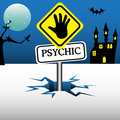 Psychic reader plate with hand sign coming out from an ice crack Stock Image