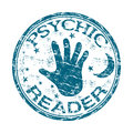 Psychic reader rubber stamp blue grunge with the text written inside the Stock Images
