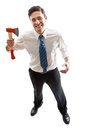 Psycho businessman a young with hatchet standing Stock Photography